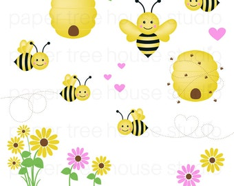 Clip Art Set - Bumble Bees, Hearts and Flowers - Yellow, Black and Pink - 17 Print Ready Files - JPG and PNG Format - ID 194