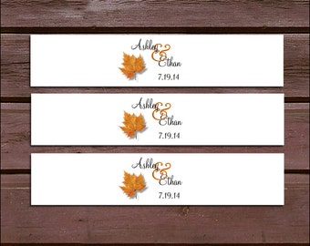 100 Fall Leaf Wedding Invitation Belly Bands Wraps.  Includes personalization and  printing