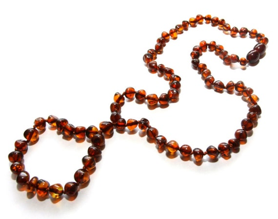 Adult Baltic Amber Nursing Necklace - Cognac Rounded Beads