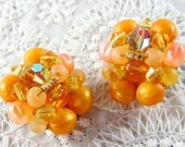 Vintage Bead Cluster Earrings, Orange Peach Beads, Aurora Borealis Crystals, Clip-ons, 1950's Mad Men Jewelry