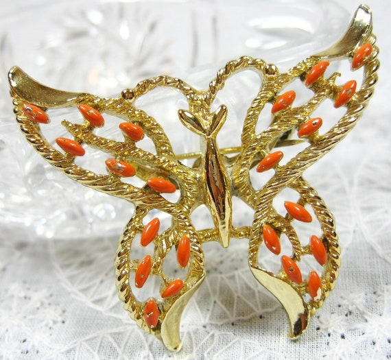 Vintage Figural Brooch, Butterfly Pin, Coral Enamel, Gold Openwork, Signed Gerry's, 1960's Mad Men, Wedding Bridal Jewelry
