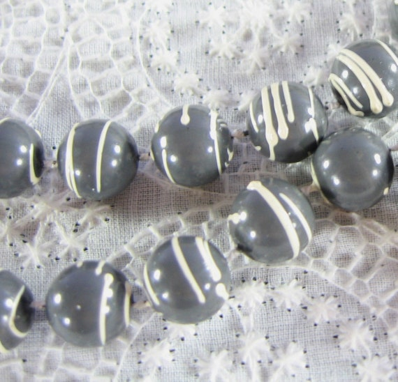 Vintage Beaded Necklace, Long, Gray Lucite Beads, White Wedding Cake Icing Stripes, 1960s MOD, Man Men Jewelry
