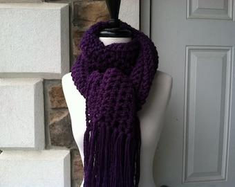 Crochet Long Scarf - DEEP VIOLET