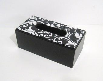 Damask Tissue Box - Damask Tissue Holder - Black and White Tissue Cover - Black and White Tissue Holder - Tissue Cover - Bathroom Decor