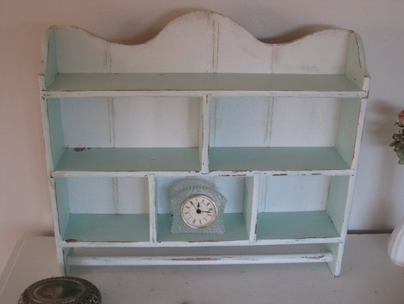Shabby Cottage Chic Rustic Wall Cabinet in  Aqua