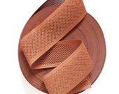 """NEW STOCK 3"""" Unique Square Perforated Terracotta Brown Stretch Elastic Band. (1 Yard)"""