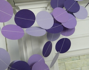 Purple Baby Shower Decorations - 10 foot paper garland -Purple Birthday Decor - purple Bridal Shower Decor- Your color choice