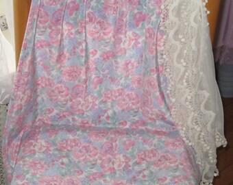 Eileen West Slip, Pink Half Slip, Pink Lingerie, Pink Roses, Blue Forget me Nots, Blue flowered slip, Perfect Vintage Slip