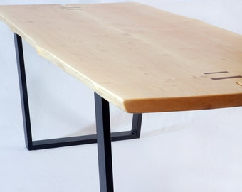 Brooklyn Dining Table -- Maple Slab with Black Walnut Butterflys