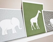 Elephant Art Print / Wild Animal Safari Set / Choose your Colors and Background / 8x10 / Wall Art Poster