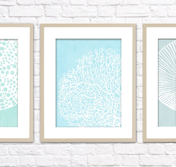 Ocean Set Art Print / Choose from 6 Sea Shell Designs / 8x10 / Digital Print Wall Art Poster
