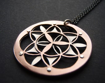 Double Layer Flower of Life Pendant - oxidised copper and sterling silver