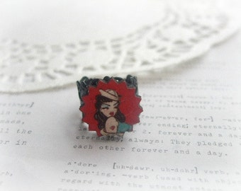 Black Filigree with Wooden Lady Sailor Ring