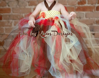 Inspired Tutu Dres Brown, red, blue and yellow--Up to size 14 available-Customize