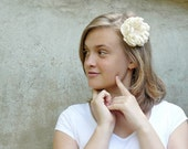 Ivory Cream Corsage Flower Felted Wool and Silk with Swarovski pearls hair accessory prom graduation wedding