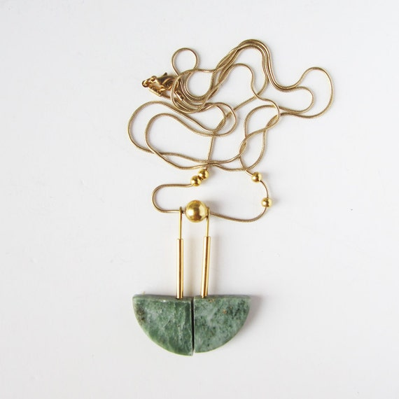 NEW -  green marble necklace