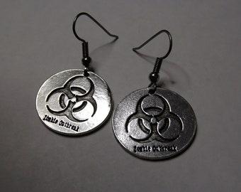 Gorgeous Geekery Zombie Outbreak Earrings - Biology, Chemistry, Science, Laboratory, Biohazard, Sci Fi