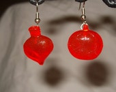 radish and tomato resin cast game piece earrings asymmetrical fall harvest mini vegetable red translucent vintage style