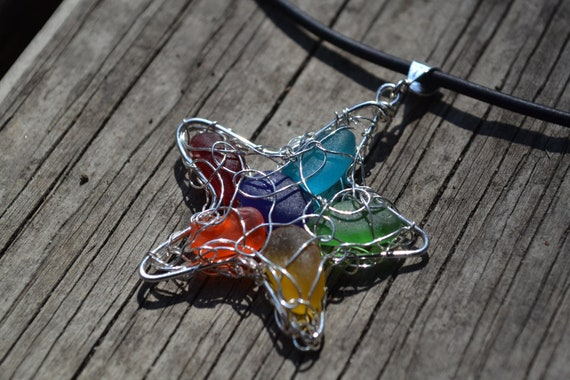 Rainbow Genuine Sea Glass Hand Knitted Fine Silver Wire Star Pendant with Black Leather Necklace