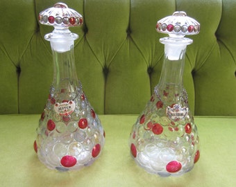 2 Hobnail Glass Decanters with Red Flashing