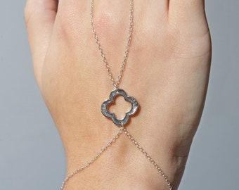 Slave Bracelet Sterling Silver Clover Layering Hand Chain