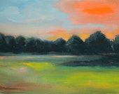 "Fall Sky, 9""x12"" Original Acrylic landscape"