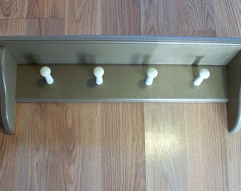 Coat Rack Wall Mounted Shelf Shaker Shelf With 4 Pegs