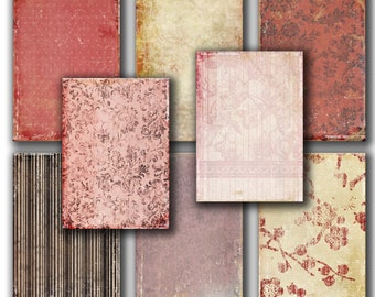 Antique PINK  Red vintage Papers  set of 8 - Gift tags, ACEO , scrapbooking , printable Digital Collage Sheet to INSTANT Download 145