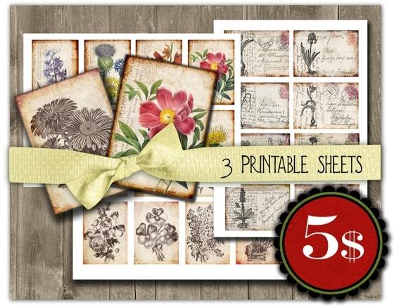 SPECIAL OFFER - Vintage botanical flower,  floral plants, postcards - Gift tags, ACEO ,  3 set Printable Digital Collage Sheets to Download