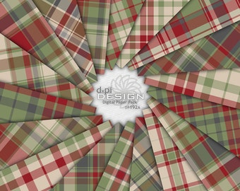 Digital Christmas Plaid Scrapbook Paper Background Images - Country Christmas Digital Paper in Red & Green Plaid - Instant Download (DP192A)