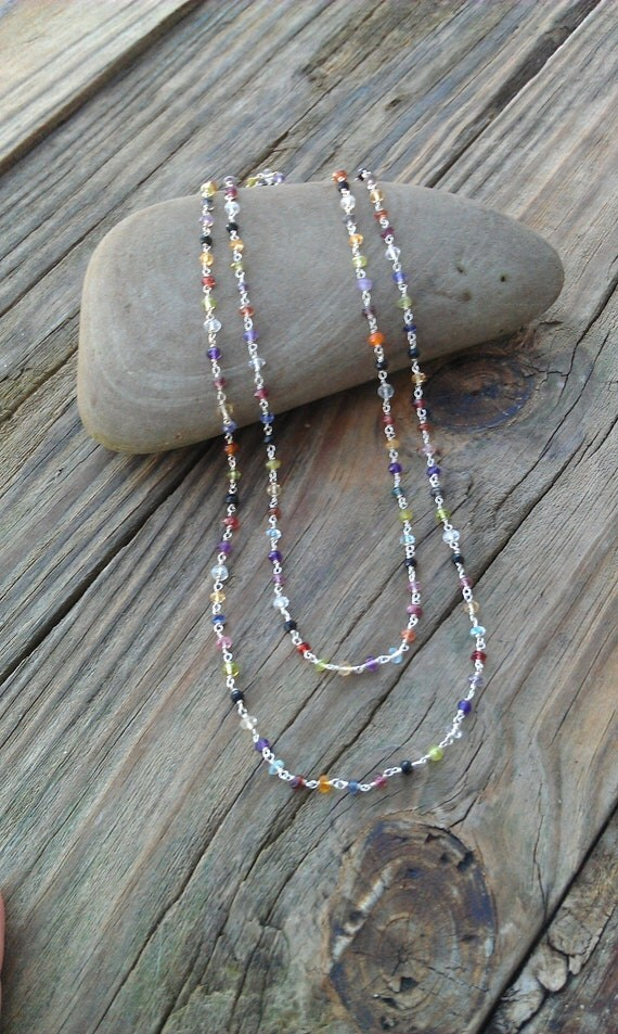 Sterling Silver and Multi Gemstone Necklace