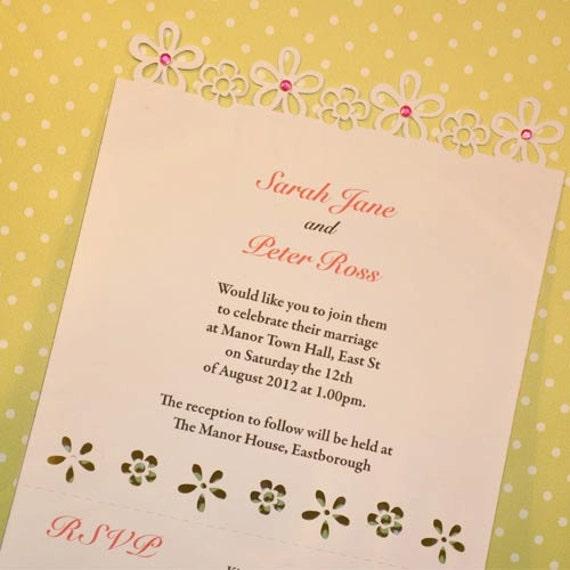 Flower Laser Cut Wedding Invitation Perforated By SweetpeadesignUK