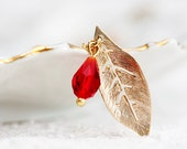 Red Drop Leaf Necklace Gold Leaf Ruby Teardrop Necklace Delicate Simple Necklace Nature Leaf Jewelry - N219
