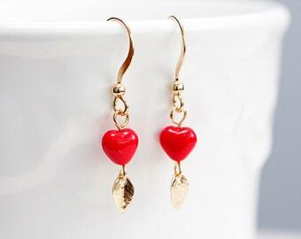 Tiny Leaf Red Heart Earrings Delicate Petite Pretty Red Earrings Minimal Simple Leaf Minimalist Earrings - E207