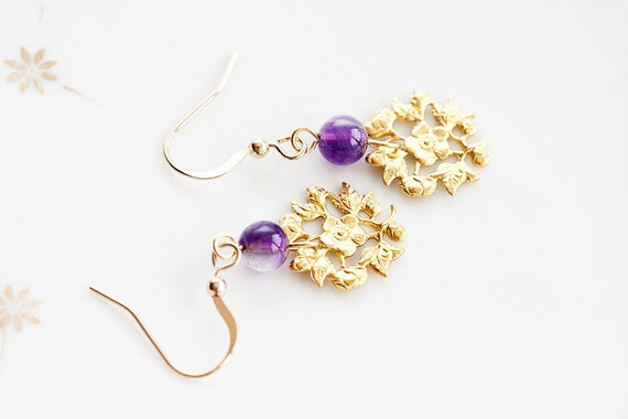 Lavender Bead Flower Charm Earrings Violet Purple Glass Bead Floral Earrings Round Charm Floral Jewelry - E198