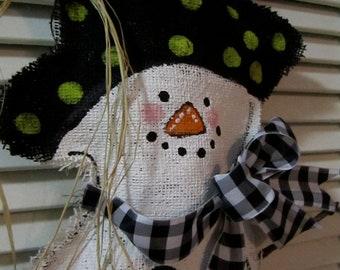 Full Body Snowman Christmas Burlap Door Hanger Door Decoration Winter Burlap Scarf