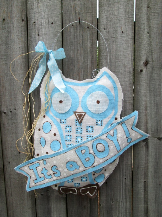 Items similar to owl burlap door hanger door decoration for Baby boy door decoration