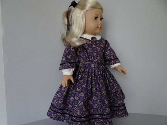 Civil War day dress for American Girl or similar 18 inch dolls.
