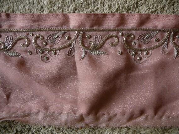 Hand made jari embroidered sari boarder, pink silver