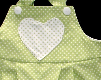 Green and White Polka Dot Overalls with Heart Shaped Pocket and Appliques  - Toddler Girl Size 1T