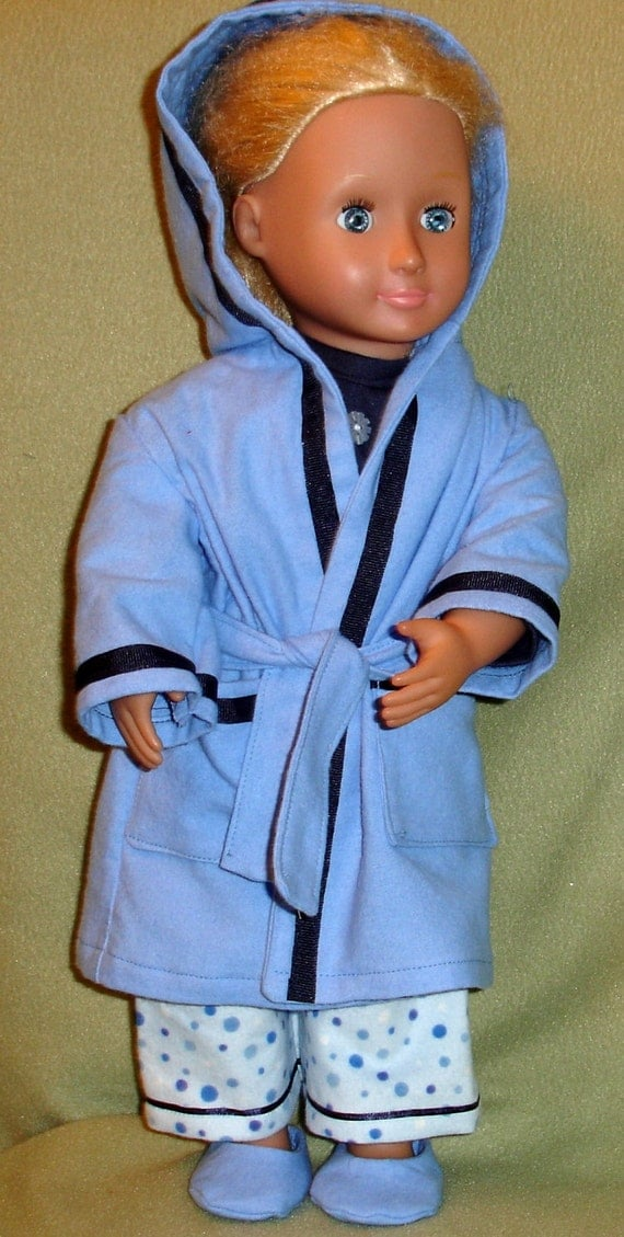Blue Pajamas, Robe, Slippers Set  Fits American Girl or Similar 18 Inch Doll
