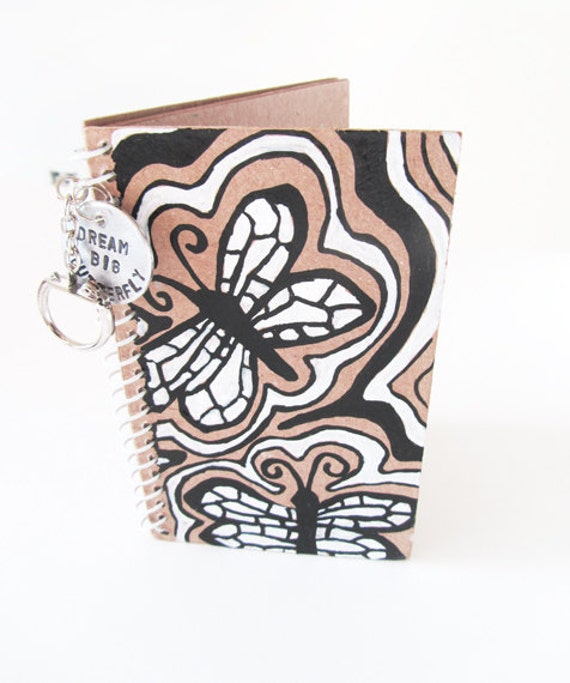 Butterfly Journal Diary hand painted hand stamped key chain black and white