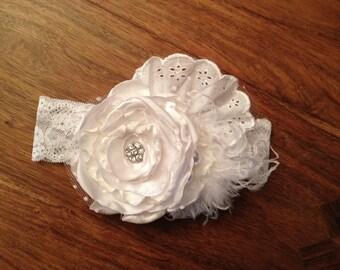 Snow Capped Crystal White Shabby Chic Headband