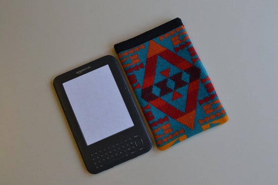 Pendleton Wool eReader Cover -  Kindle KEYBOARD  sleeve case cover - colorful turquoise Native American print