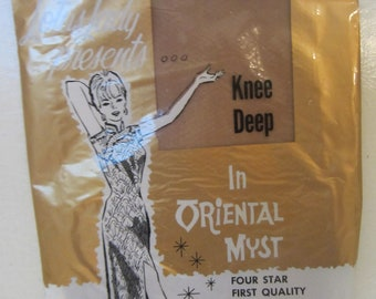 Vintage Lotus Lady presents Knee Deep in Oriental Myst Nylon Hosiery MIP size 91/2 Newest Style Shade Kitschy