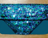 Wedding clutch,  Colored Sequin wedding purse, Blue leather corners holiday pouch