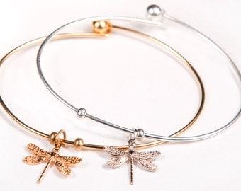 Dragonfly Bangle Bracelet ( Gold or Silver )