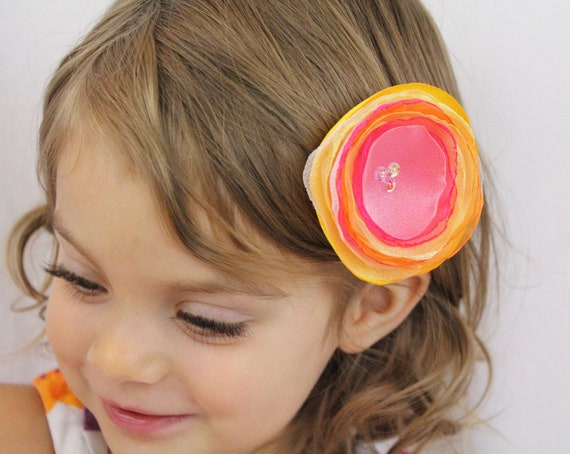 Hot Pink Orange Yellow Flower - Orange Pink Yellow Hair Bow Layered Flower - Any Color Combination Available