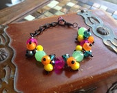 Neon Colored Chain and Bead Cluster Bracelet