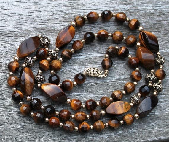 Vintage Tiger Eye and Gold Filigree Necklace